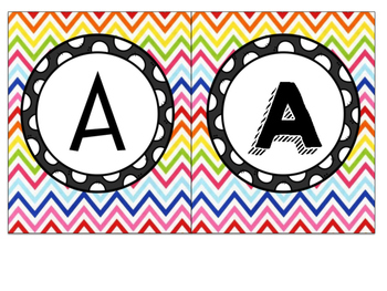 Rainbow Chevron Square Bunting Letters