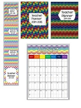 Rainbow Chevron Teacher Planner 2014-2015