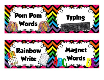 Rainbow Chevron WORD WORK Labels