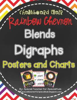 Rainbow Chevron and Chalkboard **Blend & Digraph Posters a