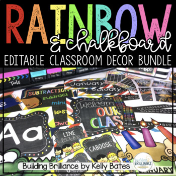 Rainbow & Chalkboard Complete Classroom Decor Set (Include