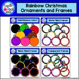Rainbow Christmas Ornaments and Frames Clip Art Set - Dood