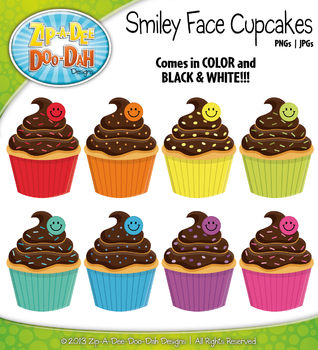Rainbow Chocolate Smiley Face Cupcakes Clipart — Includes