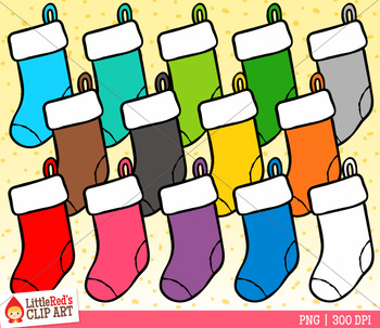 Rainbow Christmas Stockings Clip Art