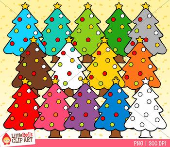 Rainbow Christmas Trees Clip Art