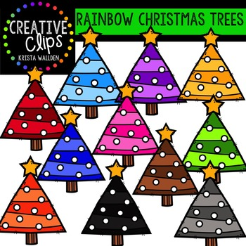 Rainbow Christmas Trees {Creative Clips Digital Clipart}