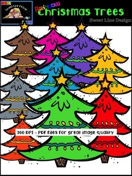 Rainbow Christmas Trees {Sweet Line Design Clipart}