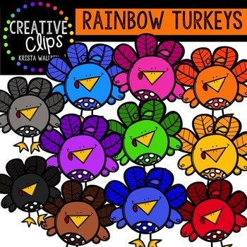 Rainbow Chunky Turkeys {Creative Clips Digital Clipart}