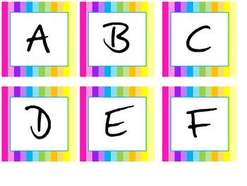 Rainbow Classroom Word Wall Letters