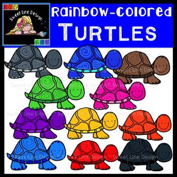 Rainbow-Colored Turtle/Tortoise Clipart {Sweet Line Design}