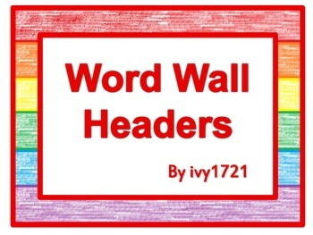 Rainbow Crayons Word Wall headers