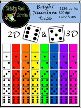 Rainbow Dice Clip Art For Math - 2D and 3D