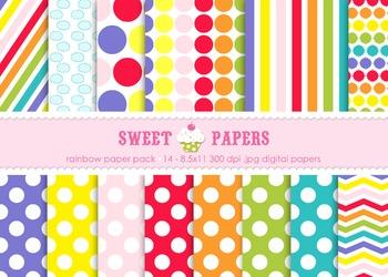 Rainbow Digital Paper Pack - by Sweet Papers