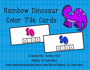 Rainbow Dinosaur Tile Cards
