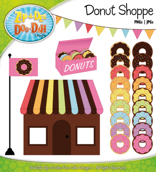 Rainbow Donut Shoppe Clipart — Over 20 Graphics!