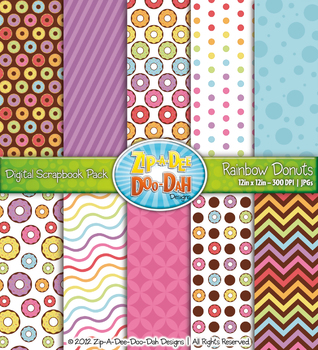 Rainbow Donuts Digital Scrapbook Pack (10 Pages)