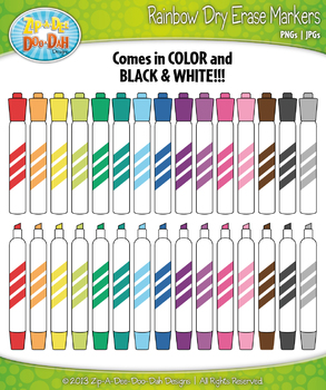 Rainbow Dry Erase Markers Clip Art — Includes 32 Graphics!