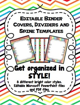 Rainbow Editable Binder Covers, Dividers and Spine Templates