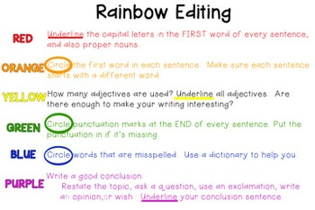 Rainbow Editing for Grades 1-6 ***WRITING***