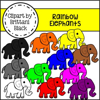 Rainbow Elephants Clipart