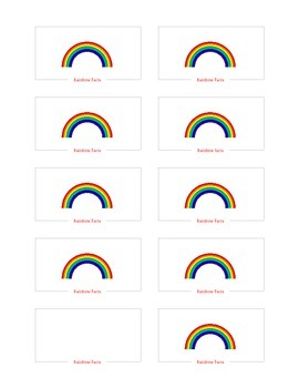 Rainbow Facts Flash Cards