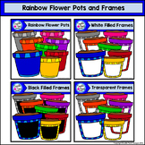 Rainbow Flower Pots and Frames Clip Art Set - Doodle Patch