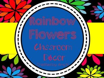 Black and Rainbow Flowers Classroom Decor
