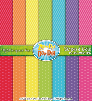Stripes & Dots Digital Scrapbook Pack — Rainbow (14 Pages)