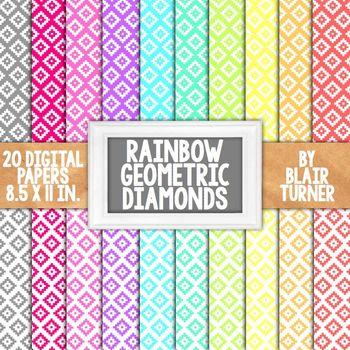 Rainbow Geometric Aztec Print Backgrounds - 20 Digital Papers