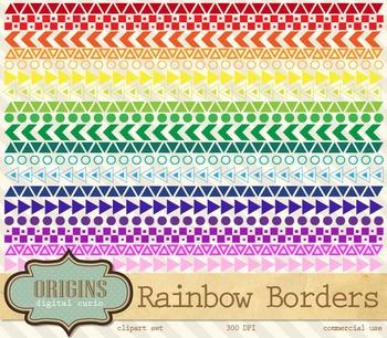 Rainbow Geometric Borders Clipart
