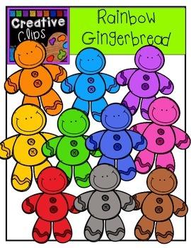 Rainbow Gingerbread {Creative Clips Digital Clipart}
