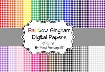 Rainbow Gingham Digital Papers