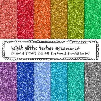 Rainbow Glitter Texture Digital Paper, Bright Digital Glit