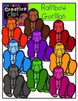 Rainbow Gorillas {Creative Clips Digital Clipart}