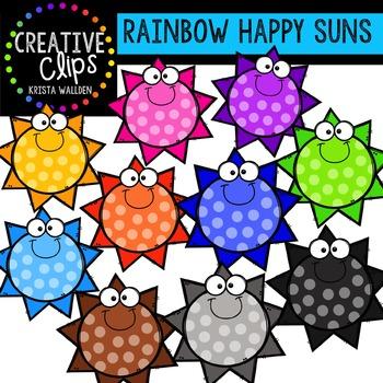 Rainbow Happy Suns {Creative Clips Digital Clipart}