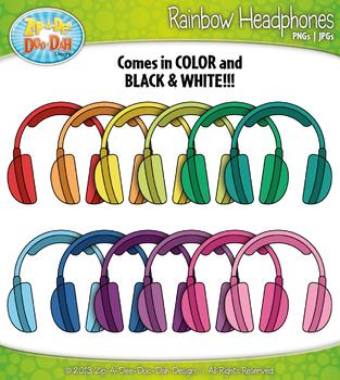 Rainbow Headphones Clip Art — Includes 18 Graphics!