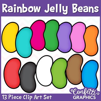 Rainbow Jelly Bean Clipart Set 13 Piece Easter Counting Co