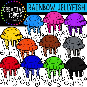 Rainbow Jellyfish {Creative Clips Digital Clipart}