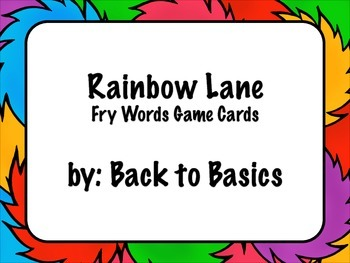 Rainbow Lane Fry Words Game Cards