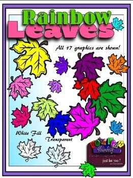 Rainbow Leaves Clipart (Embellish Yourself Artworks)