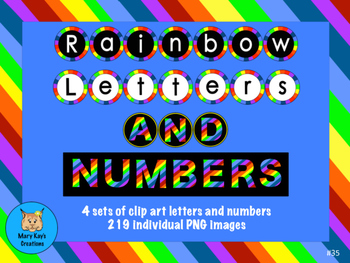 Rainbow Letters and Numbers Clip Art