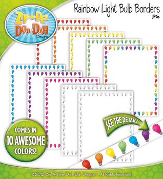 Rainbow Light Bulb Borders — 10 Colorful Graphics!