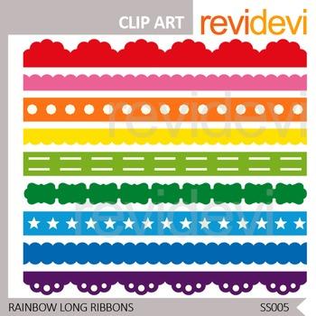 Rainbow Long Ribbons - digital clip art - commercial use -