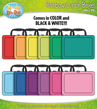 Rainbow Lunch Boxes Clip Art — Includes 18 Graphics!