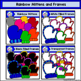 Rainbow Mittens and Frames Clip Art Set - Doodle Patch Designs
