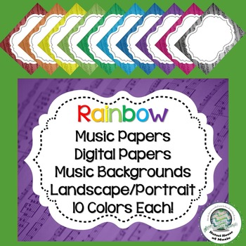 Rainbow Music Frames/Papers/Backgrounds ~ 10 Colors ~ Awar