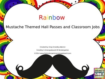Rainbow Mustache Classroom Jobs Hall Passes