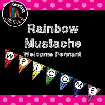 Rainbow Mustache Welcome Banner