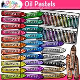 Rainbow Oil Pastel Clip Art {Drawing Tools & Material Grap