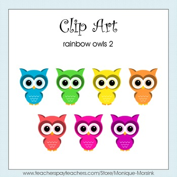 Rainbow Owls 2 - Clip Art - Freebie